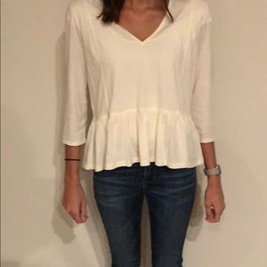 Madewell peplum cream shirt